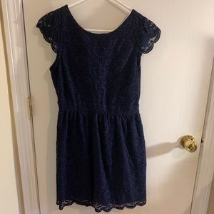 Navy Blue Lace Cocktail Dress with Open Back